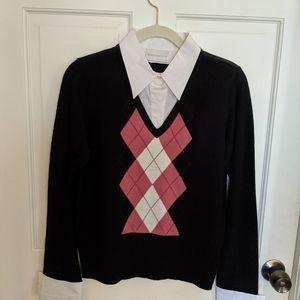 Black Cotton Sweater with Argyle Design